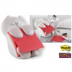 Dispenser gatto bianco + ricarica Post It Super Sticky Z Notes rosso rubino - 76 x 76mm - 90 fogli - Post It