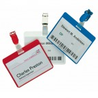 Portanome a tasca aperta - clip in plastica - blu - 6x9 cm - Durable - conf. 25 pezzi