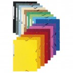 Cartellina con elastico - cartoncino lustrè - 3 lembi - 400 gr - 24x32 cm - giallo - Exacompta