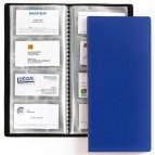 Porta biglietti da visita - 20 buste con 4 tasche ciascuna - 12,7x27 cm - blu - Favorit