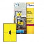 Etichetta in poliestere L6127 - adatta a stampanti laser - 99,1x139 mm - 4 etichette per foglio - giallo fluo - Avery - conf. 20 fogli A4