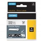 Nastro Rhino 18488 - 12 mm x 3,5 mt - nylon flessibile - nero/bianco - Dymo