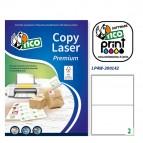 Etichetta adesiva LP4W - permanente - 200x142 mm - 2 etichette per foglio - bianco - Tico - conf. 100 fogli A4