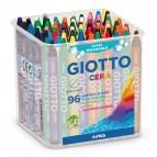Pastelli cera - lunghezza 90mm con Ø 8,50mm - colori assortiti - Giotto -  barattolo 96 colori