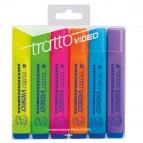 Evidenziatore Tratto Video - punta a scalpello - tratto da 1,0-5,0mm - astuccio 6 colori - Tratto