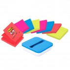 Dispenser da tavolo per Post It Super Sticky Z Notes - 8 ricariche incluse - 76 x 76mm - colori assortiti - Post It