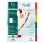 Separatore numerico 1/6 - cartoncino bianco 160 gr - tasti colorati - A4 - Exacompta