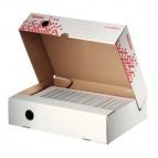 Scatola archivio Speedbox - dorso 8 cm - 35x25 cm - apertura totale - bianco e rosso -  Esselte