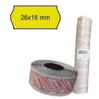 Rotolo da 1000 etichette a onda per Printex Smart 16/2616 e Z Maxi 6/2616 - 26x12 mm - adesivo permanente - giallo - Printex - pack 10 rotoli