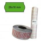 Rotolo da 1000 etichette a onda per Printex Smart 16/2616 e Z Maxi 6/2616 - 26x12 mm - adesivo permanente - verde - Pritnex - pack 10 rotoli