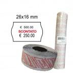 Rotolo da 1000 etichette a onda per Printex Smart 16/2616 - SCONTATO - 26x16 mm - adesivo permanente - bianco - Printex - pack 10 rotoli