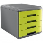 Cassettiera Mydesk - 29,5x38,5x28,2 cm - 4 cassetti da 4,5 cm - grigio/verde - Arda