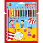 Matite colorate Stabilo Trio Maxi - mina 4,2mm - Stabilo - astuccio 18 colori con temperino