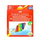 Matite colorate Eco  triangolari - mina 3mm - con temperino - Faber Castell - Astuccio 24 matite colorate