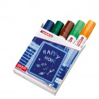 Marcatore Ending 4090  - punta scalpello da 2,00-3,00mm - astuccio 5 colori : blu,verde,marrone,verde chiaro,arancio fluo - Edding