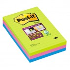 Blocco foglietti Post It Super Sticky rettangolari - a righe - colori Ultra - 101 x 152mm - 90 fogli - Post It