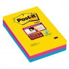 Blocco foglietti Post It Super Sticky rettangolari - a righe - colori Rio - 101 x 152mm - 90 fogli - Post It