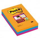 Blocco foglietti Post It Super Sticky rettangolari - a righe - colori Bangkok - 101 x 152mm - 90 fogli - Post It