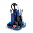 Desk set - 13x16x10 cm - 8 accessori inclusi - blu traslucido - Niji Italiana
