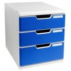 Cassettiera Modulo A4 Exacompta - grigio chiaro/blu - 2+1 cassetti - 325003D