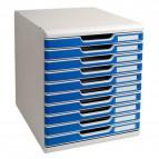 Cassettiera Modulo A4 Exacompta - grigio chiaro/blu - 10 cassetti - 302003D