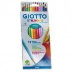 Pastelli colorati Stilnovo Acquarell - lunghezza 18cm mina 3,3mm - Giotto - Astuccio 12 pastelli colorati