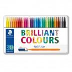 Triplus Pennarelli Brilliant Colours punta feltro - tratto1,00mm - astuccio in metallo da 30 colori - Staedtler
