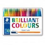 Triplus Pennarelli Brilliant Colours  punta feltro - tratto 1,00mm - astuccio in metallo da 50 colori - Staedtler