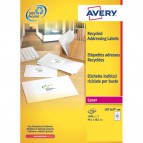 Etichette bianche riciclate per indirizzi Avery - 199,6x143,5 mm - 2 et/ff - LR7168-100 (conf.100)
