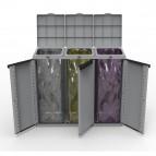 Contenitore EcoCab 3 per raccolta differenziata - 102x39x88,7 cm - 3 portasacco da 110 L ciascuno - Terry