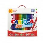 Pennarelli Joy - punta 2,6mm - colori assortiti - lavabili - Carioca - scatola 60 pezzi