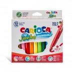Pennarelli Jumbo - punta 6,0mm - colori assortiti - lavabili - Carioca - astuccio 12 pezzi