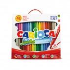 Pennarelli Jumbo - punta 6,0mm - colori assortiti - lavabili - Carioca - valigetta 40 pezzi