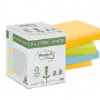 Blocco Post It - assortiti pastello - 76 x 76mm - 100 fogli - carta riciclata - Post It - conf. 10 blocchi