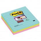 Blocco foglietti Post It Super Sticky - a righe - colori Miami - 101 x 101mm - 70 fogli - Post It