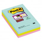 Blocco foglietti Post It Super Sticky - a righe - colori Miami - 101 x 152mm - 90 fogli - Post It