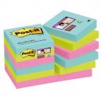 Blocco foglietti Post It Super Sticky - colore Miami - 47,6 x 47,6mm - 90 fogli - Post It