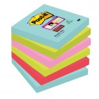 Blocco foglietti Post It Super Sticky - colore Miami - 76 x 76mm - 90 fogli - Post It