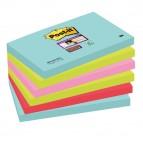 Blocco foglietti Post It Super Sticky - colore Miami - 76 x 127mm - 90 fogli - Post It