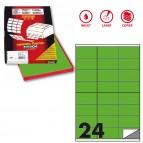 Etichetta adesiva C500 - permanente - 70x36 mm - 24 etichette per foglio - verde fluo - Markin - scatola 100 fogli A4