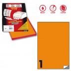 Etichetta adesiva C503 - permanente - 210x297 mm - 1 etichetta per foglio - arancio fluo - Markin - scatola 100 fogli A4