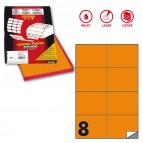 Etichetta adesiva C512 - permanente - 105x74 mm - 8 etichette per foglio - arancio fluo - Markin - scatola 100 fogli A4