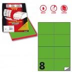 Etichetta adesiva C512 - permanente - 105x74 mm - 8 etichette per foglio - verde fluo - Markin - scatola 100 fogli A4