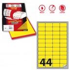 Etichetta adesiva A406 - permanente - 47,5x25,5 mm - 44 etichette per foglio - giallo fluo - Markin - scatola 100 fogli A4