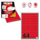 Etichetta adesiva A406 - permanente - 47,5x25,5 mm - 44 etichette per foglio - rosso fluo - Markin - scatola 100 fogli A4