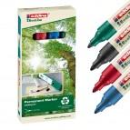Marcatore 21 Ecoline - punta conica da 1,50-3,00mm - astuccio 4 colori - inchiostro permanente - Edding