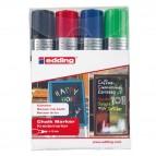 Marcatore Ending 4090 - punta scalpello da 4,00-15,00mm - astuccio 4 colori: nero, rosso , blu ,verde chiaro - Edding