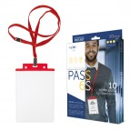Portanome Pass 6 S P - cordoncino rosso - 10x15 cm (A6) - rosso - Sei Rota - conf. 10 pezzi
