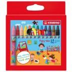 Pastelli a cera Yippy-Wax - colori assortiti - Stabilo -  astuccio 12 colori