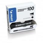 Scatola Marcatore Permanente Markers 100 - punta tonda 4,5mm  - nero - Pilot - conf. 15 pezzi +5 pezzi gratis